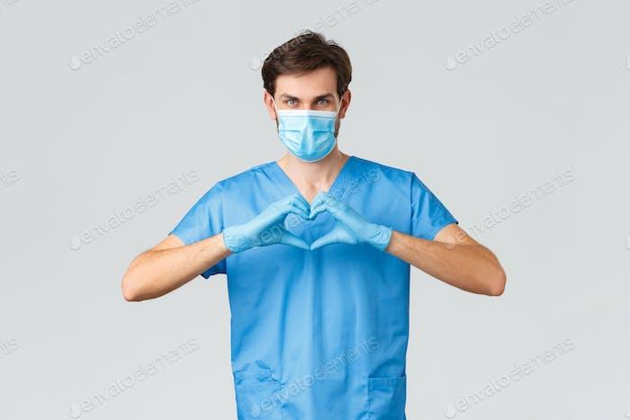 Covid-19, Quarantäne, Krankenhäuser und Gesundheitspersonal Konzept. Ernst entschlossener Arzt oder Krankenschwester