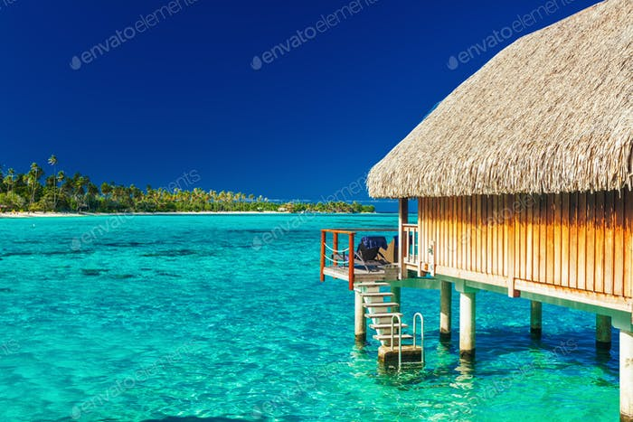 Over water bungalow with steps into amazing lagoon, Moorea