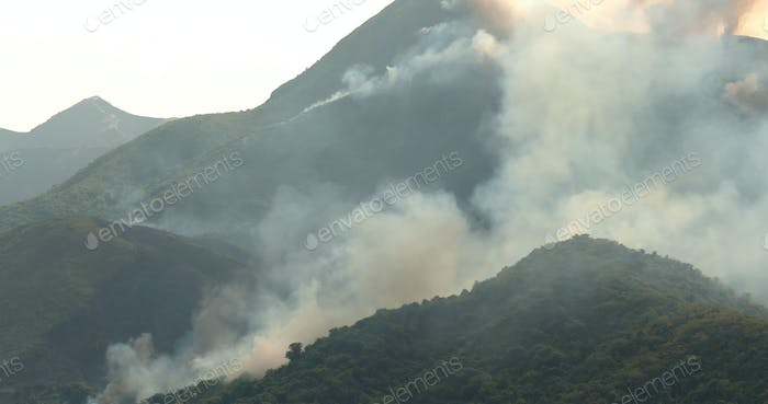 Serious of Fire accident on mountain with helicopter rescue