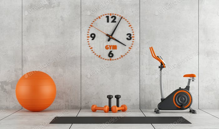 Concrete room with gym equipment