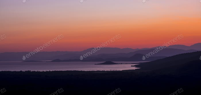 Panorama of sunrise over Abaya Lake and Nechisar national park i