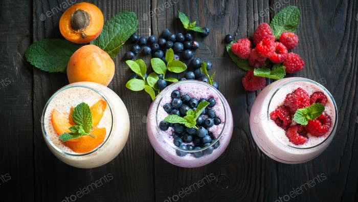 Yogurt with berries.