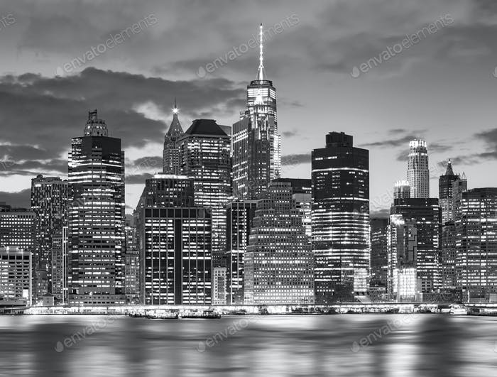 Black and white New York City skyline at night, USA