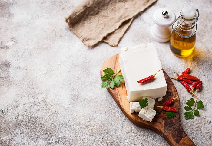 Fresh feta cheese with spices