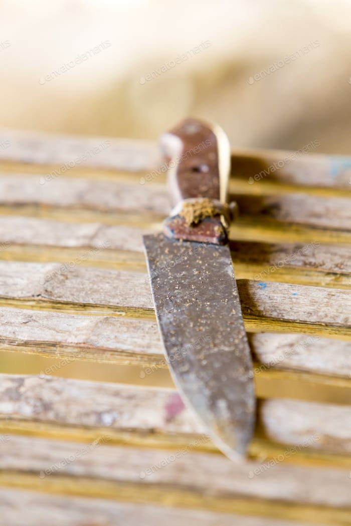 Old table knife on wooden background, Brazil