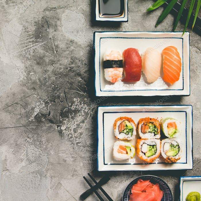Asiatischer Food-Hintergrund, Draufsicht, flache Lay