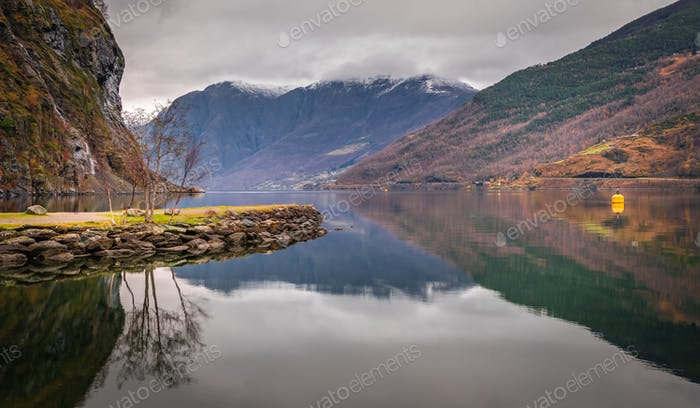 Stunning scenery of norwegian fiord as seen from the shore