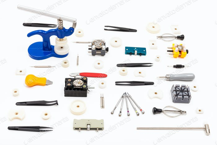 collection of various tools for watch repairing