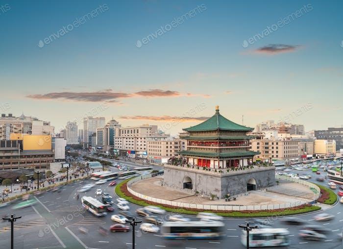 xian cityscape at dusk