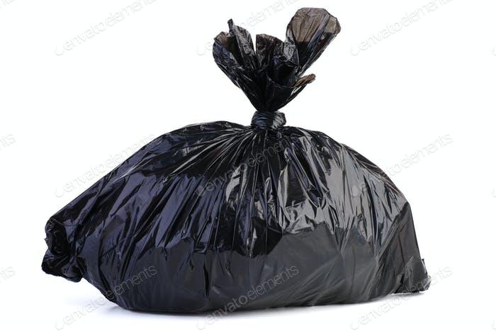 Big black plastic garbage bag