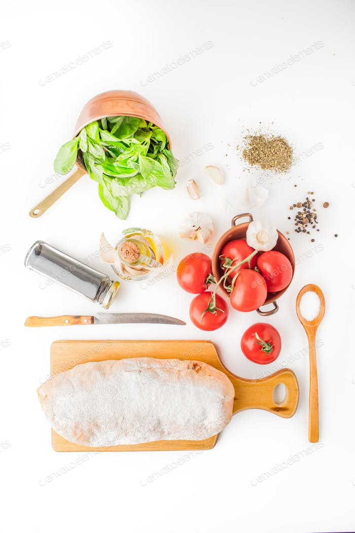 Ingredients for  bruschetta on the white background