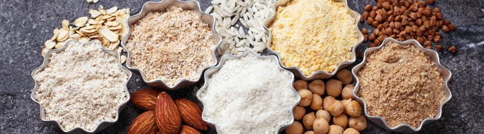 Selection of various gluten free flour