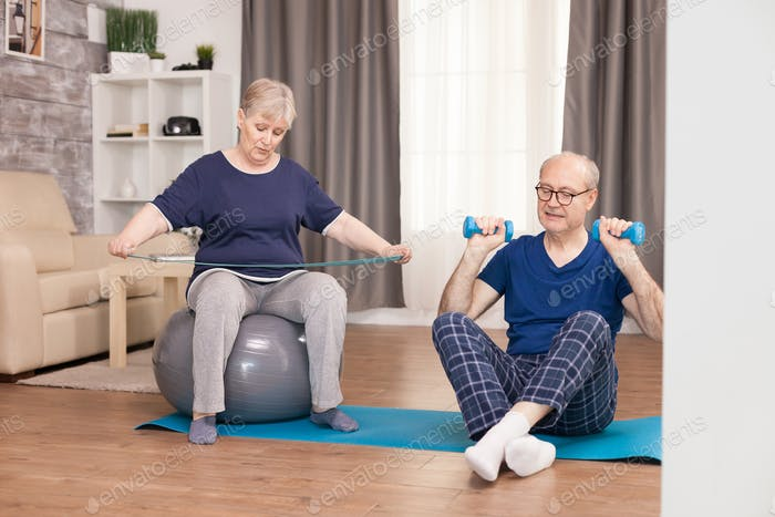 60 years old couple exercising
