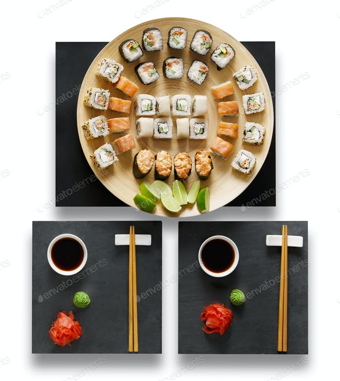 Set of sushi maki and rolls isolated at white.