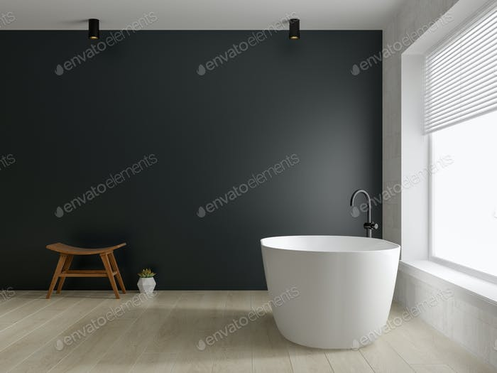 Interior modern bathroom 3D rendering
