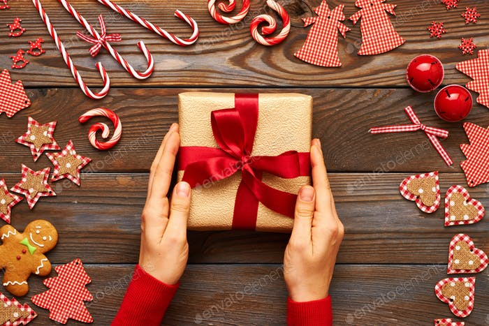 Female hands on christmas gift