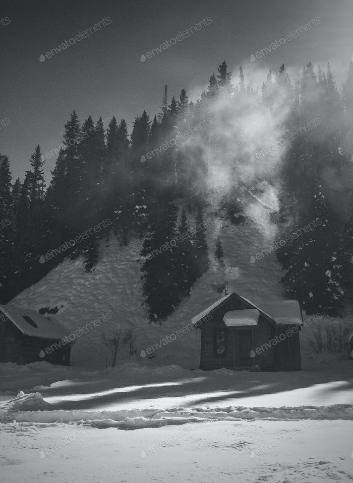 Cabin with smoke