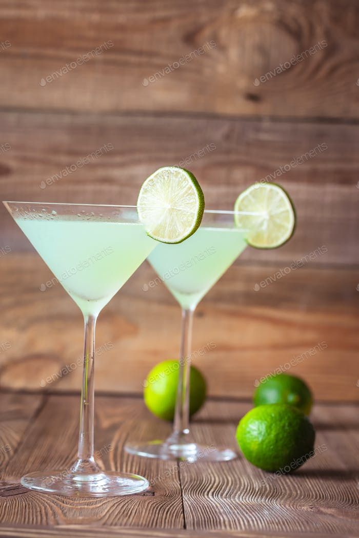 Glasses of classic daiquiri cocktails