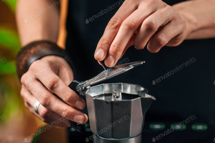 Making Coffee With Moka Pot, Close Up