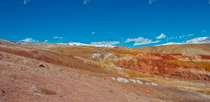 Deposit of colorful clay in the Altai Mountains or Mars valley, Kizil-Chin