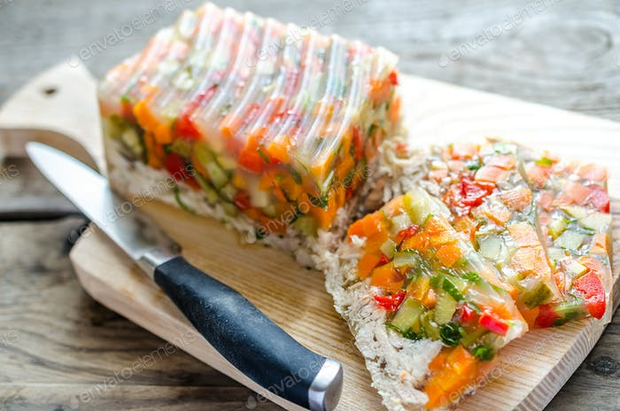 Chicken galantine with vegetables