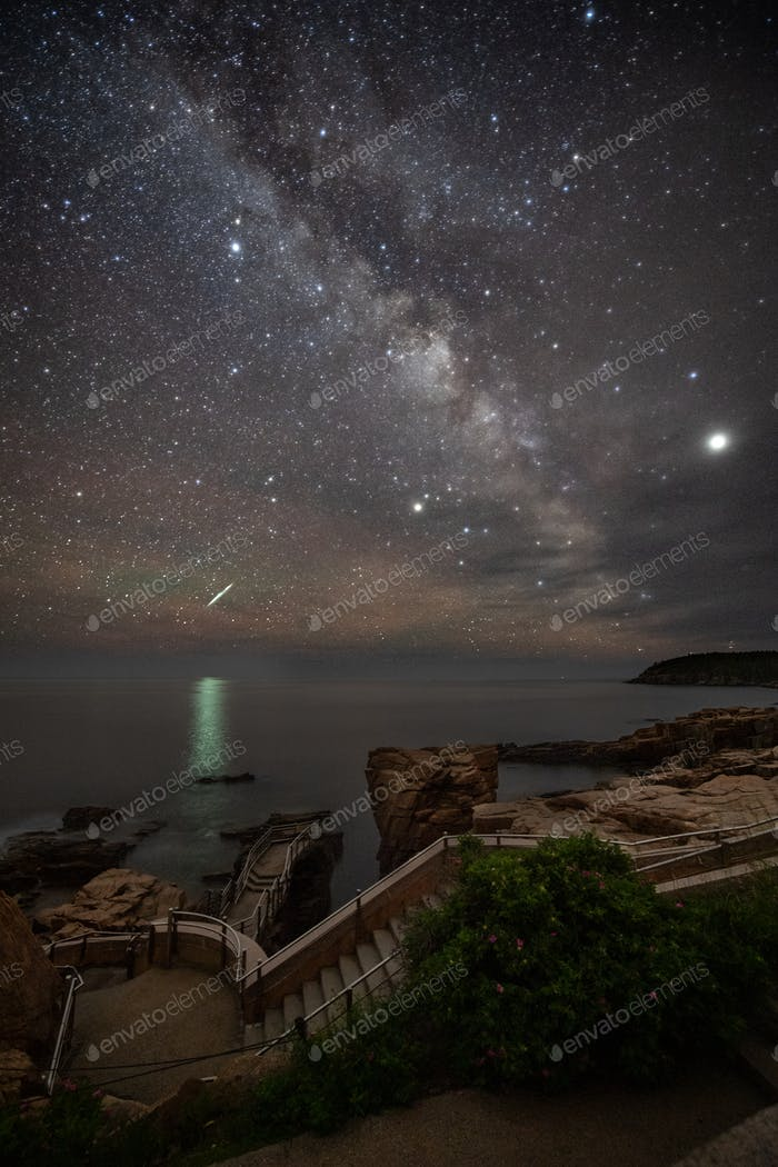 Meteor and Milky Way over Thunder Hole
