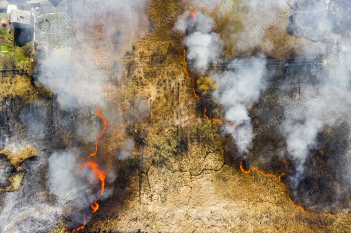 Aerial view of wildfire on the field. Huge clouds of smoke