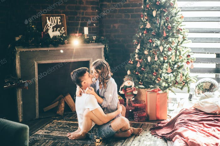 Couple celebrating Christmas