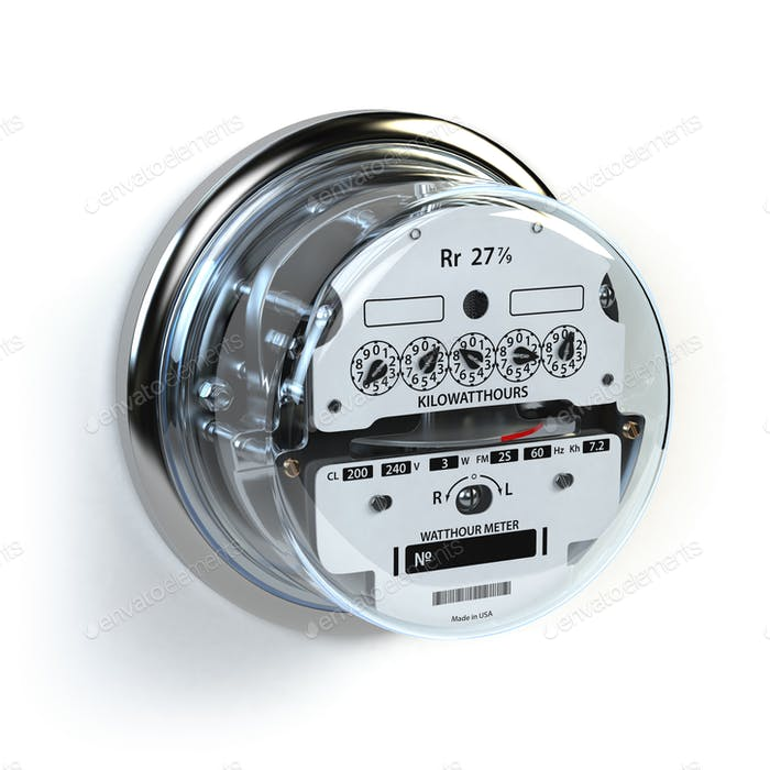 Analog electric meter isolated on white.  Electricity consumptio