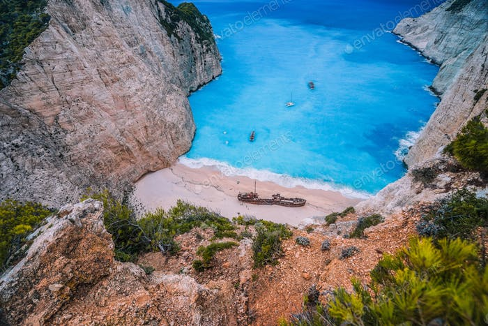 Navagio Shipwreck Beach on Zakynthos island, Greece. Famous attraction landmark must-see place visit