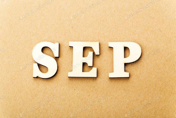 Wooden text for september