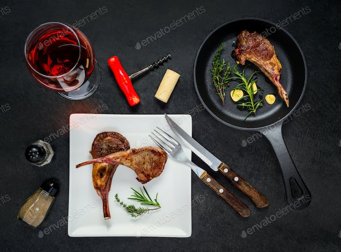 Grilled Ribs Steak with Glass Wine