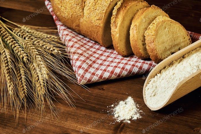 Bakery food on wood table