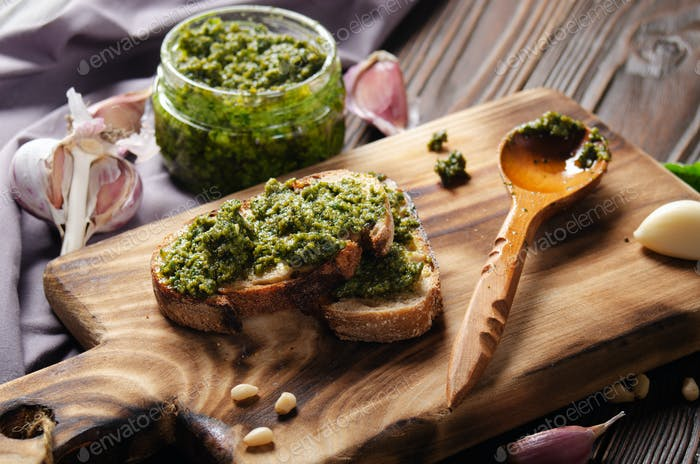 sandwiches with genovese pesto sauce