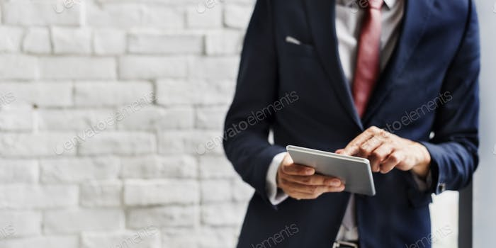 Businessman Holding Tablet Lifestyle Concept