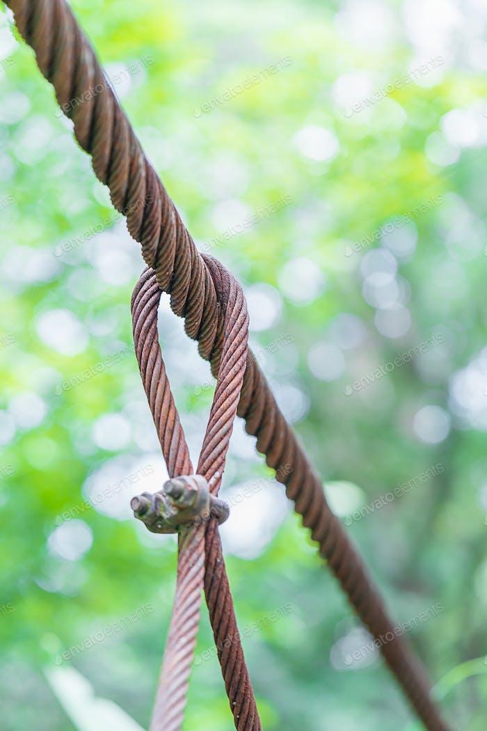 Steel wire rope lifeline on the bridge-4
