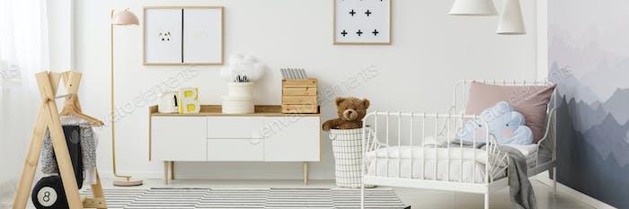 Teddy bear in child's bedroom