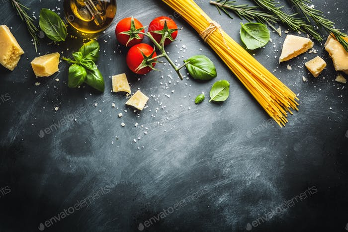 Cooking concept with ingredients for cooking