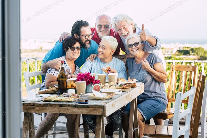 Group of caucasian family people enjoy and celebrate together