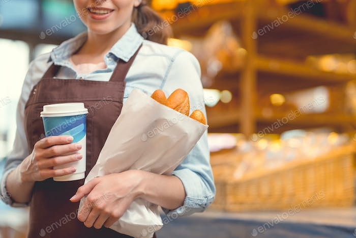 Young woman in the bakery