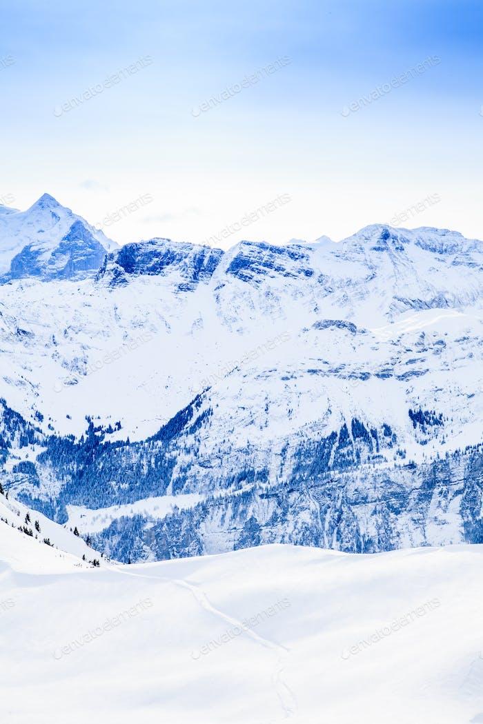 Beautiful mountain landscape.  Winter mountains panorama