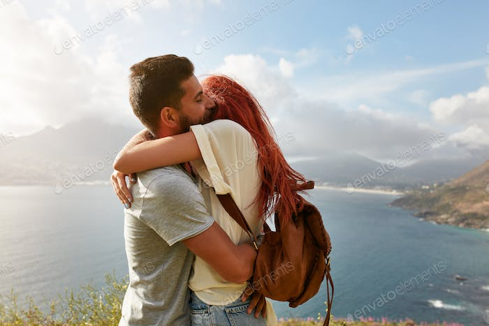 Couple enjoying a romantic embrace
