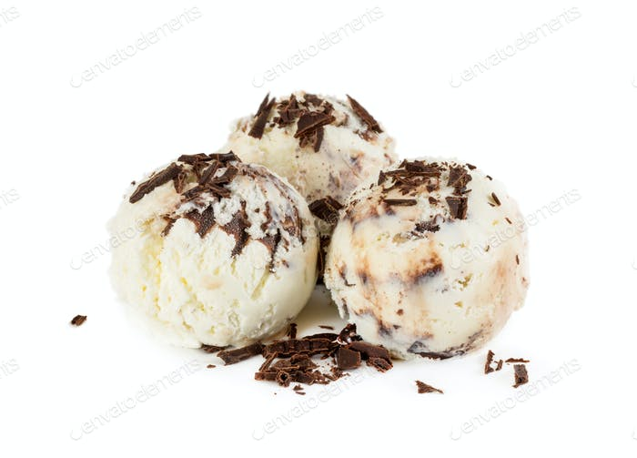 Three balls creamy chocolate ice cream with chocolate chips isol