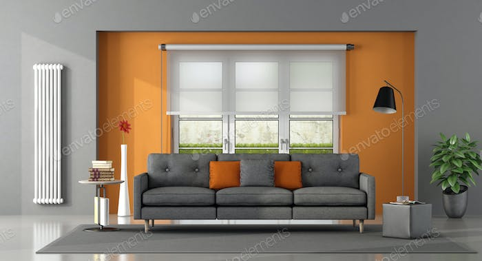 Gray orange living room