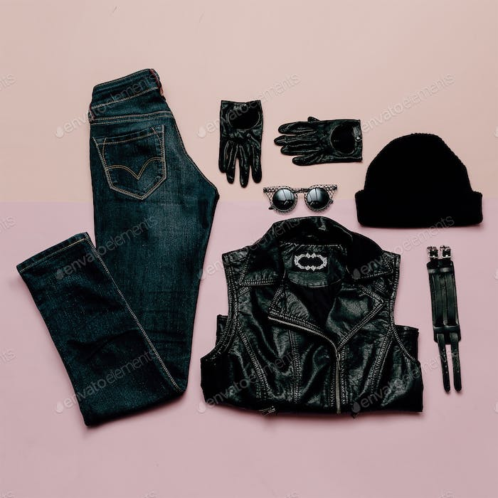 Fashionable Hipster Clothing. Top view. Style every day. Black f