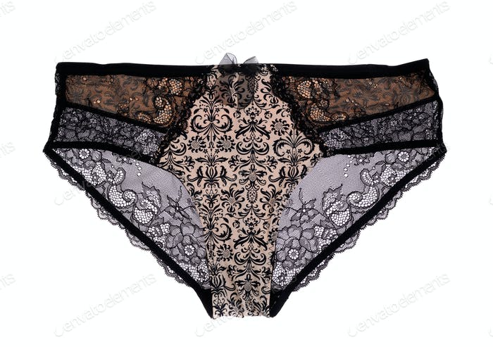 Beige lace panties, isolate