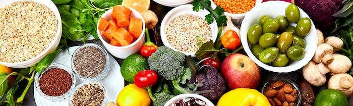 Banner of Ingredients für die gesunde Nahrungsmittelauswahl, Konzept der gesunden Ernährung eingerichtet