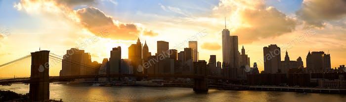 Manhattan panorama at sunset