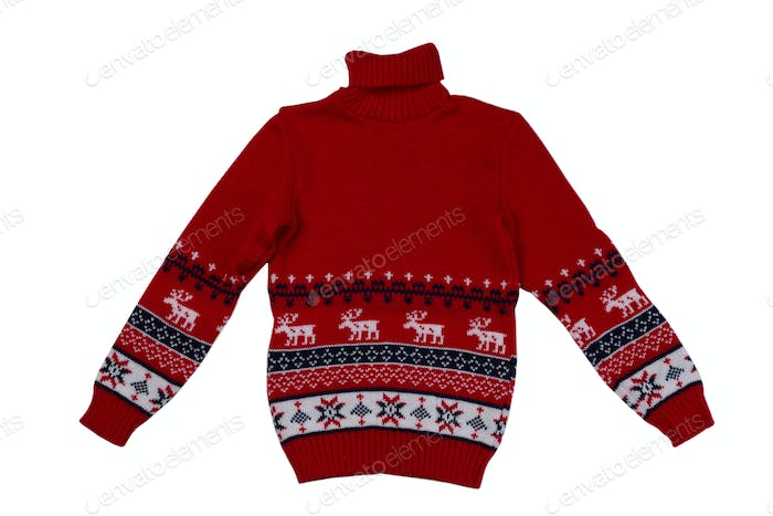 Red knitted sweater background with traditional design