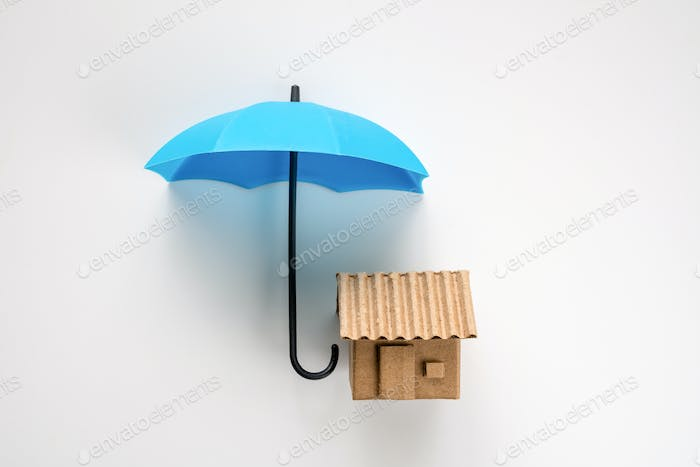 House under blue color umbrella